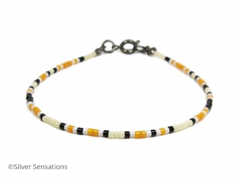 Dainty Pale Yellow, Orange, Black & White Friendship Bracelet